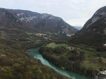 Красивое русло реки близко к Geneve стоковое изображение rf