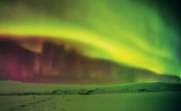 Красивое северное сияние в Исландии, съемке в предыдущем perio зимы Стоковое фото RF