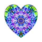 Красивое сердце сделанное из коллажа полевых цветков lupine Яркое мистическое сердце любит кристалл голубого, зеленых и voilet дл Стоковая Фотография RF