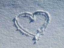 Красивое сердце в снеге Стоковая Фотография RF