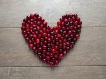 Красивое сердце с клюквами стоковая фотография rf