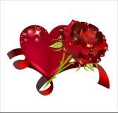 Красивое сердце с розой переплело с красной лентой Стоковая Фотография