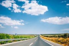 Красивое скоростное шоссе асфальта, шоссе, шоссе в Андалусии, Испании Стоковое фото RF
