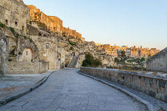 Красивое старое город-привидение di Matera Matera Sassi в щеголе Стоковые Изображения RF