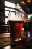 Красивое стекло холодного вкусного темного пива в баре Темная предпосылка Стоковые Изображения RF
