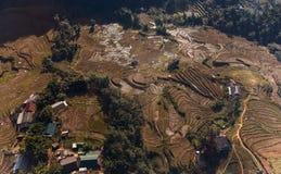 Красивое сценарное отечественной террасы резиденции и риса в sapa Стоковое Изображение RF