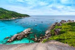 Красивое тропическое море и голубое небо острова Similan, Phang Nga Стоковая Фотография