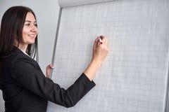 Красивое усмехаясь сочинительство молодой женщины на пустом flipchart в офисе по мере того как она делает представление или продв стоковое изображение rf