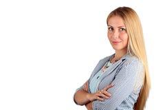 Красивое усмехаясь isolatwd портрета бизнес-леди на белой предпосылке Стоковые Фотографии RF
