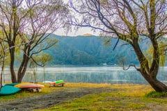 Красивое утро на озере Saiko в Yamanashi, Япония с col стоковая фотография