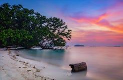 Красивое утро на пляже Стоковая Фотография