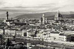 Красивое Флоренс, Тоскана, Италия, черно-белая Стоковое Изображение RF