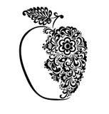 Красивое черно-белое яблоко украшенное с флористической картиной. Стоковое Изображение