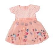 Красивое элегантное платье девушки лета белизна изолированная предпосылкой Стоковые Изображения