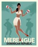 Красивое merengue танцев девушки с maracas Стоковая Фотография RF