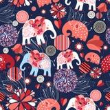 Красивой безшовной слоны влюбленныеся картиной Стоковое фото RF