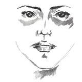 Красивой иллюстрация стороны женщины нарисованная рукой Вектор акварели Стоковые Фотографии RF