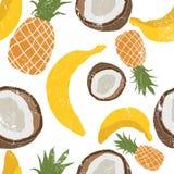 Красивой картина нарисованная рукой с бананами, кокосами, ананасами Безшовный цветочный узор, предпосылка лета Текстура Grunge бесплатная иллюстрация