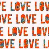 Красивой нарисованный рукой дизайн влюбленности оформления с hawaiian цветет безшовный вектор картины для печатей на бумаге, ткан Стоковая Фотография