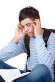 красиво имеющ студента усилия головной боли мыжского стоковая фотография