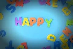 Красиво положенная вне надпись счастливая пестротканых писем Предпосылка с виньеткой Стоковые Изображения