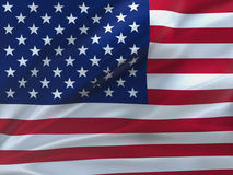 Красиво развевая американский флаг Стоковые Фото
