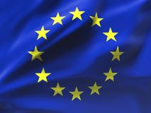 Красиво развевая флаг Европейского союза Стоковые Изображения