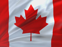 Красиво развевая флаг Канады Стоковые Фото