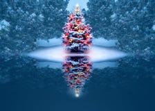 Красиво украшенная рождественская елка отражает волшебно в замороженном озере бесплатная иллюстрация
