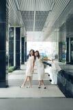Красивые азиатские девушки с хозяйственными сумками идя на улицу на th Стоковое Изображение