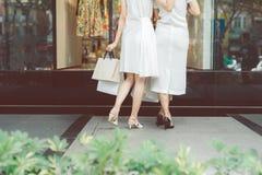 Красивые азиатские девушки с хозяйственными сумками идя на улицу на th Стоковое Изображение RF