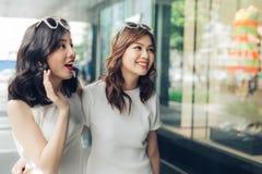 Красивые азиатские девушки с хозяйственными сумками идя на улицу Стоковое Изображение