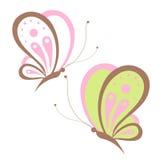 Красивые бабочки цвета, изолированные на белизне Стоковые Изображения
