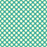 Красивые безшовные белые точки польки с зеленой картиной границы на предпосылке сини aqua Стоковое Изображение