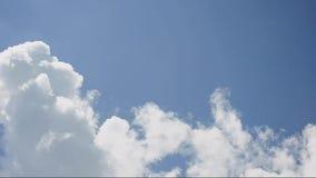 Красивые белые облака двигая в голубое небо сток-видео
