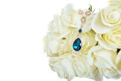 Красивые белые розы с шкентелем Стоковая Фотография RF