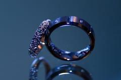 Красивые богато украшенные обручальные кольца стоковое изображение rf