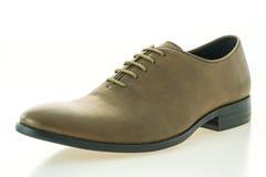 Красивые ботинки людей элегантности и роскоши кожаные коричневые Стоковое Фото