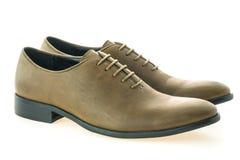 Красивые ботинки людей элегантности и роскоши кожаные коричневые Стоковое фото RF