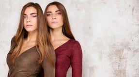 Красивые близнецы сестры представляя в студии стоковое изображение rf