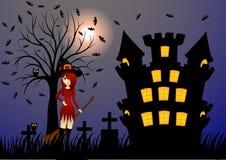 Красивые ведьма и замок Стоковая Фотография RF