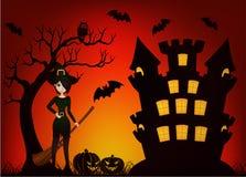 Красивые ведьма и замок Стоковое Изображение