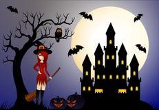 Красивые ведьма и замок Стоковое фото RF