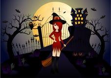 Красивые ведьма и замок Стоковые Изображения