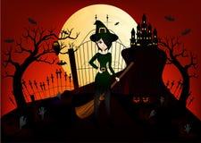 Красивые ведьма и замок Стоковое Фото