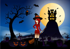 Красивые ведьма и замок Стоковое Изображение RF