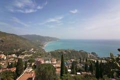 Красивые виды Taormina, Сицилии, Италии и побережья стоковое фото rf