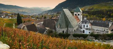 Красивые виноградники на аббатстве Novacella, южном Тироле, Bressanone, Италии Монастырь Augustinian канонов регулярн Neustift стоковое фото