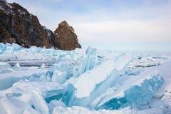 Красивые виды зимы Lake Baikal Стоковые Фото