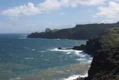 Красивые виды северного побережья Мауи, принятые от известной извилистой дороги к Гане Мауи, Гавайи Стоковые Изображения